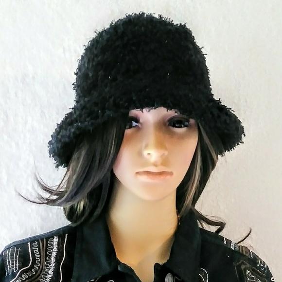 Cejon Black Shaggy Sparkly Bucket Hat. M 5ba6482da31c33d69e3a7240 607c56963b1